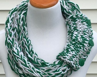 Philadelphia Eagles Scarf Eagles Scarf Winter Scarf Chunky Scarf Infinity Eternity Finger Knit Necklace Scarf