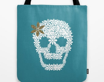 Skull Tote Bag Personalized color 13x13 16x16 18x18 Halloween Women Gift Birthday Multifunctional Beach Market EveryDay Bag Calavera Cute