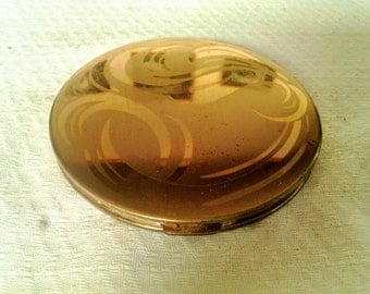 Vintage Larger Sized Goldtone Face Powder Mirrored Compact