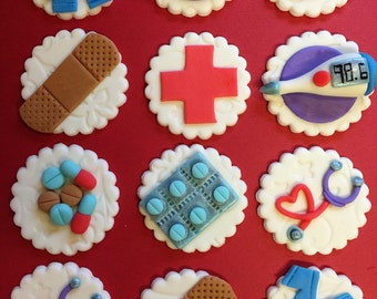 12 Medical Cupcake Toppers - Healthcare - Fondant - Nurse - Doctor - Nursing - Hospital - Bandaid - Scrubs -Edible - Fondant