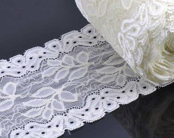 2 Yards WHITE Lace Trim Springy Polyester Embrodiered Lace Trim Piping Dress Sewing Trim 10cm Wide