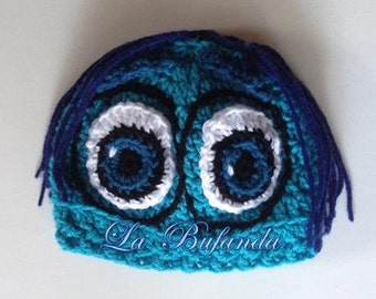 Sadness - Inside Out Crochet Blue Hat, Kids Beanie, Earflap Crochet Hat, Inspired Character Beanie, Kids and Adults Blue Hat