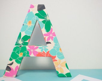 "Wooden ""A"" with floral pattern"
