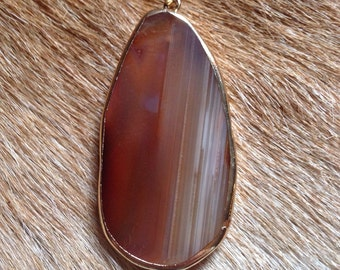Natural agate slice necklace