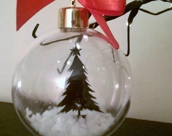 Christmas Tree in Snow Acrylic Bauble