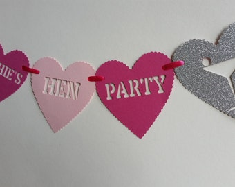 Personalised hot pink, pale pink & silver glitter hen party bunting. Hen night, bachelorette party banner, garland. Hen party decoration