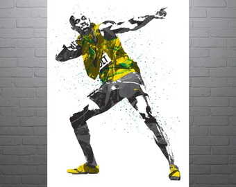 Usain Bolt, Jamaica, Track and Field Poster, Art Print, Kids Decor, Watercolor Contemporary Abstract Drawing Print, Man Cave