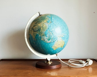 Mid Century Light Up World Globe by Scan-Globe A/S Made in Denmark 1970