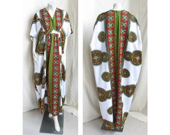 Vintage 1970s Caftan Ethnic Dashiki Print CALABASH COLLECTION Bohemian Dress
