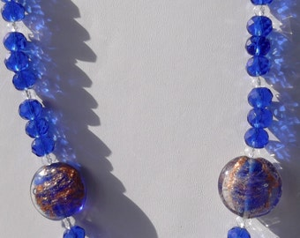 blue and copper glass bead necklace