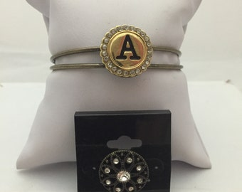 Bronze Tone Interchangeable Snap bracelet with Initial A and bonus Snap
