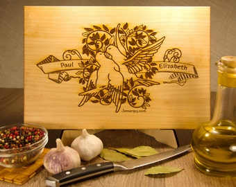 Personalized cutting board, unique wedding gift, customized boards, love birds. FREE - Gift Wrap!!!