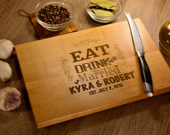 Personalized cutting board, just married gift, personalized gift, custom cutting board, custom wedding gifts, anniversary gift