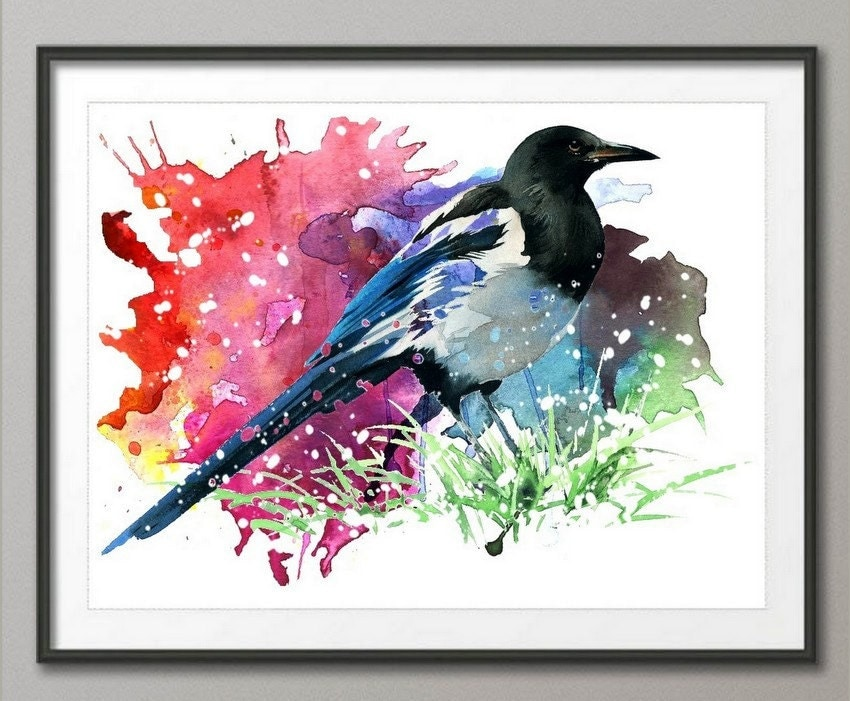 Magpie art print from original watercolor home decor wall Home decor wall decor australia