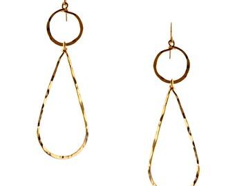 Gold Dandgle Hammered Hoops