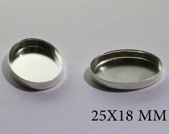 Sterling Silver Oval Bezel Cups 25x18 mm