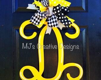 Monogram Door Hanger, Letter Door Hanger, Bright Door Hanger, Yellow Door Hanger, Summer Door Hanger, Fancy Door Hanger