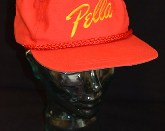 Vintage Pella Window and Doors Red & Yellow Snapback Baseball Cap Hat (One Size Fits All)