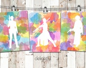 Instant Download Star Wars Rey Princess Leia Queen Amidala Padme Set of 3 Printable Poster Watercolor Wall Art Digital Print Home Decor