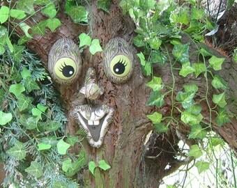 Fathers Day E T Tree Face Handmade Sculpture Statue Garden