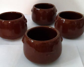 4 Vintage West Bend Individual Brown Stoneware Bean Chili Bowls