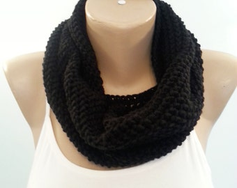 Cowl Scarf , Black Scarf , Black Crochet Cowl , Black Infinity Scarf , Circle Scarf , Gift for her , Gift for his ,Chunky Cowl , Valentine's