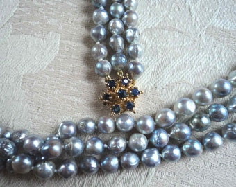 Vintage 70's Fine Genuine Saltwater Silver/Blue Baroque Pearl 3 Strand Necklace Real Sapphire & Gold 14K Clasp Possibly Tahitian