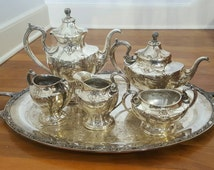 Gorgeous Vintage PAIRPOINT Mfg Silver WATER LILY 6 Pc Tea/Coffee Service with Tray