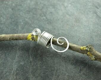 Dreadlock, dread work jewelry, Rasta, coil, wire, silver plated