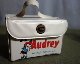 Little Audrey Cartoon The World Traveler Miniature Travel Case Purse Handbag- Vinyl Lunch Box- Brunch Bag Style