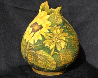 Carved Sunflower Decorative Gourd