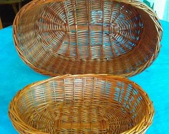 Two Woven Wicker Baskets