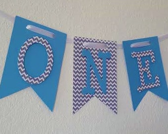 Grey Chevron and Blue High Chair Banner, Happy Birthday Banner, I Am One Banner, I Am One Banner