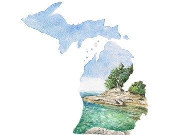Michigan Art Print - State Love Print - Michigan State Map - Unique Map Art - Gifts Under 20 - Unique  Guestbook Idea - Watercolor Print