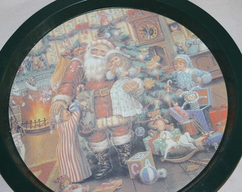 One Vintage Tray for Decoration or Use, with Painting on the Front, Holiday Time, Christmas, Santa w Children, Round, Christmas Tree, NICE