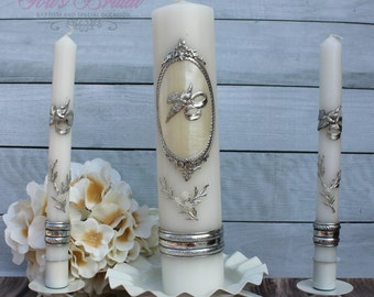 FAST SHIPPING!! Beautiful Silver Unity Candle Set with Silver Base Included in a Gorgeous Deluxe Box. Introductory Price until July 15th.