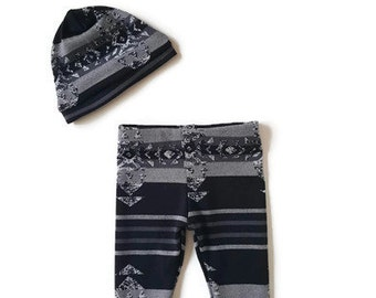 Slouchy beanie and legging set, south western print baby boy leggings, black beanie and legging baby set, modern baby boy clothes
