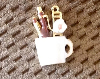 Enamel cup Charm With perfume bottle,lipstick,flower and file