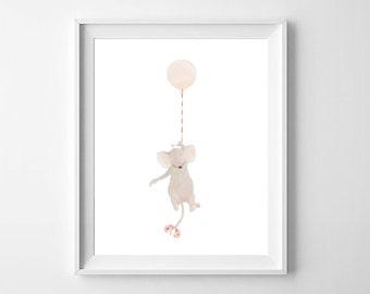 Mouse Nursery Wall Art,Mouse Girls Nursery,Girls Nursery,Girls Room Art,Mouse Nursery Art,Balloon Nursery Art,Mouse kids Room,Cute Mouse