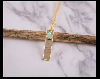 Turquoise opal necklace and gold plated hammered bar