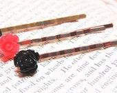 Flower Bobby Pins - Red Rose Bobby Pins - Black Rose Bobby Pins - Black Bobby Pins - Black Hair Pins - Red Bobby Pins - Red Hair Pins