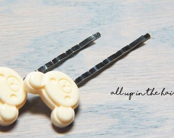 Bear Bobby Pins - Teddy Bear Bobby Pins - White Bobby Pins