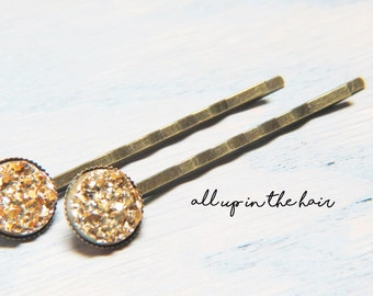 Gold Druzy Bobby Pins - Gold Druzy Hair Pins - Gold Bobby Pins