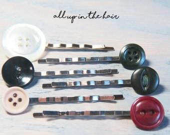 Bobby Pins - Hair Pins - Button Bobby Pins - Button Hair Pins - Stocking Stuffer - Christmas Gift