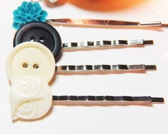 Button Bobby Pins  - Button Hair Pins - Blue Bobby Pins - Blue Hair Pins - Blue Flower Bobby Pin - Owl Bobby Pin - White Owl Hair Pin