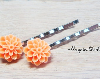 Pale Orange Dahlia Bobby Pins - Orange Flower Bobby Pins