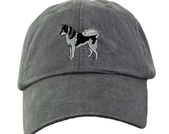 Siberian Husky Hat - Embroidered. Dog Lover Hat. Embroidered Hat. Cool Mesh Lining & Adjustable Leather Strap. 33 Colors Avail. HER-LP101