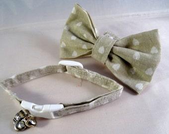 Cat Collar optional bow // Grey heart polka