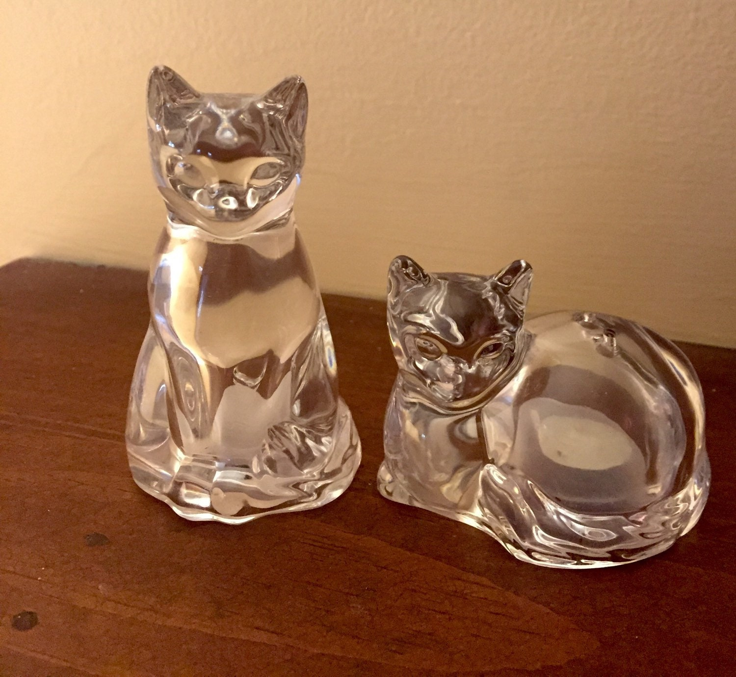 Beautiful Vintage Crystal Cat Salt And Pepper Shakers Gorham