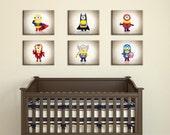 Discounted Set of 6 minion super heroes,nursery decor,boys room decor ,kids room decor,children decor,teen room decor,nursery print,nursery